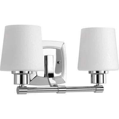 Glance Collection 2-Light Polished Chrome Vanity Light with Etched Linen Glass Shades