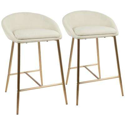 Matisse 26 in. Gold and Cream Fabric Upholstered Counter Stool (Set of 2)