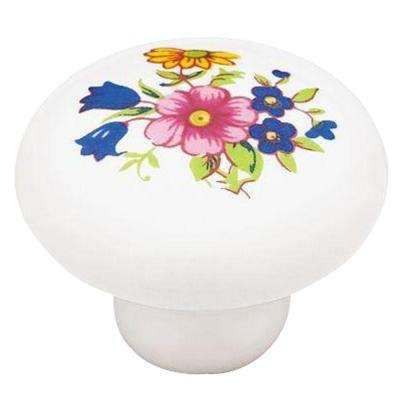 Ceramic Floral 1-1/4 in. (32mm) White Round Cabinet Knob