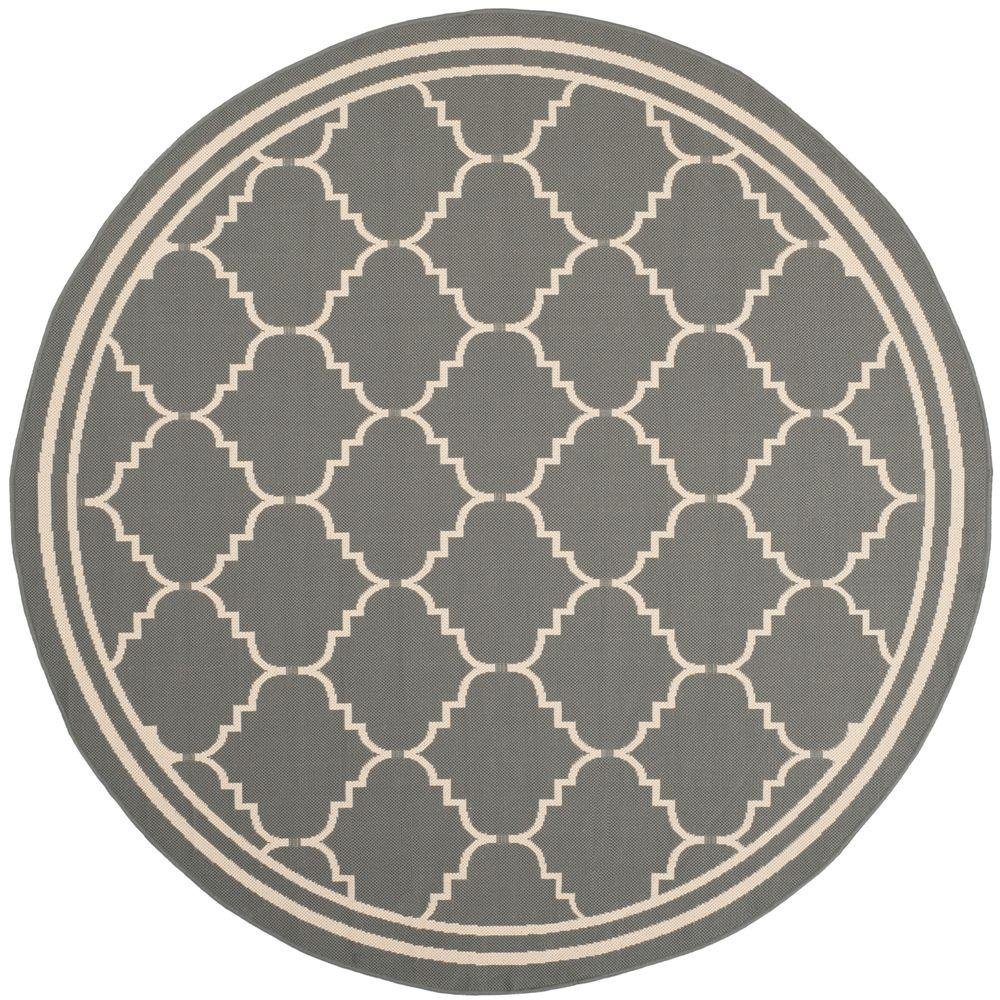 Safavieh Courtyard Gray/Beige 5 ft. 3 in. x 5 ft. 3 in. Indoor/Outdoor Round Area Rug