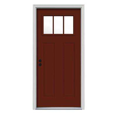 32 in. x 80 in. 3 Lite Craftsman Mesa Red Painted Steel Prehung Right-Hand Inswing Front Door w/Brickmould