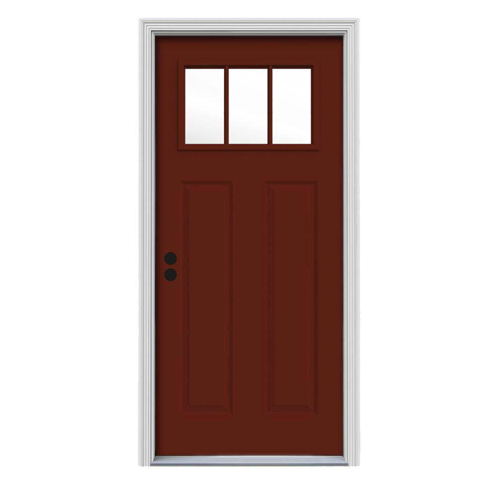 Craftsman 3 Lite Painted Steel Prehung Front Door Part 34