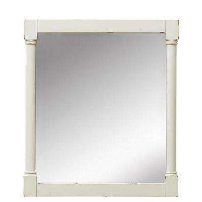 Fallston 32 in. L x 27 in. W Framed Wall Mirror in Weathered Ivory