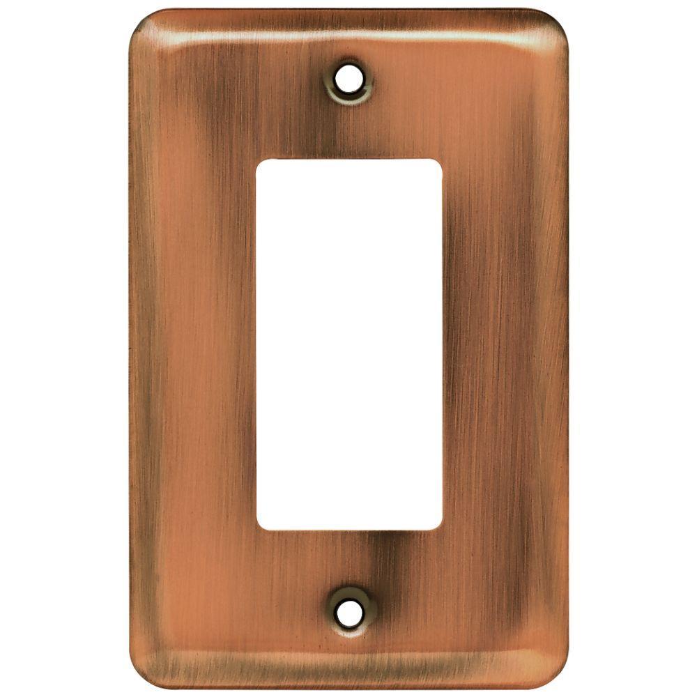 stamped round decorative single rocker switch plate antique copper