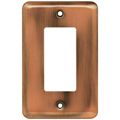 Stamped Round Decorative Single Rocker Switch Plate, Antique Copper