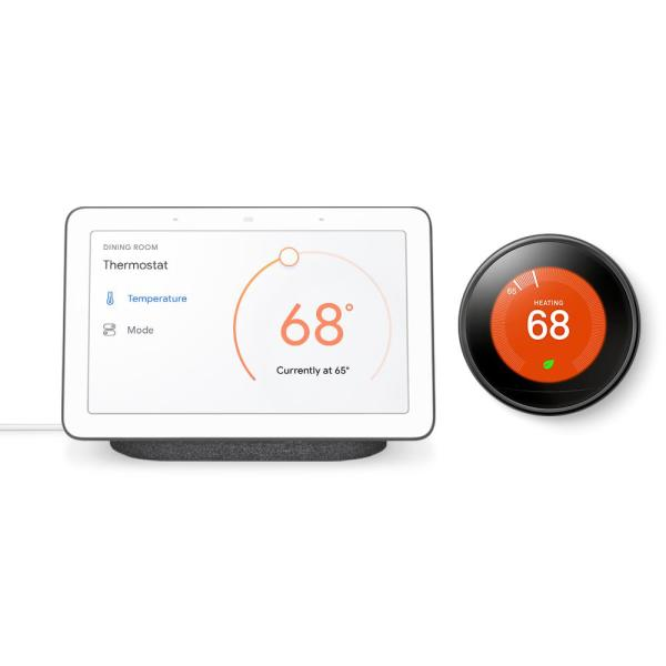 Nest Hub Charcoal and Nest Learning Thermostat 3rd Gen in Mirror Black