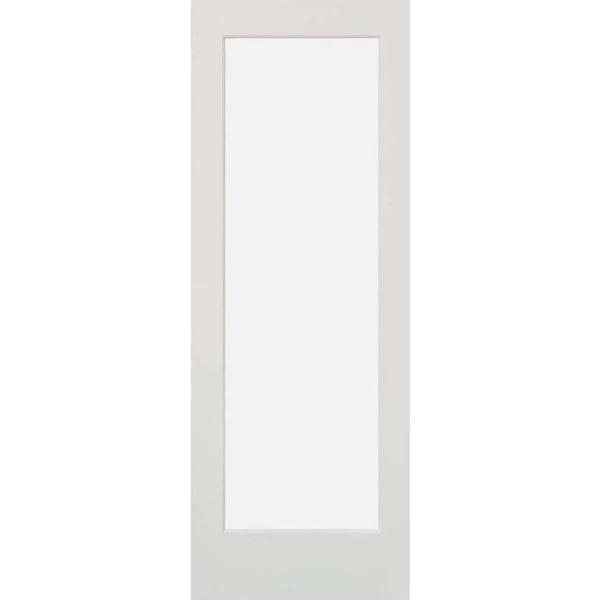 30 in. x 80 in. 1-Lite Satin Etch Solid Core MDF Primed Left-Hand Single Prehung Interior Door