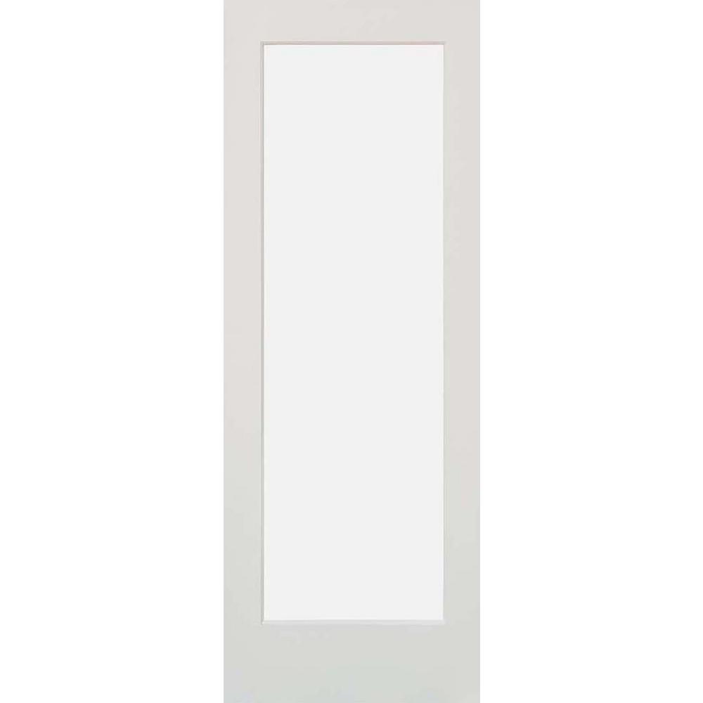 32 in. x 80 in. 1-Lite Satin Etch Solid Hybrid Core MDF Primed Left-Hand Single Prehung Interior Door