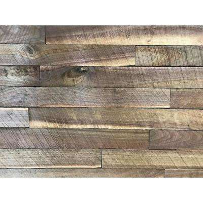 Shiplap Plank 0.5 in. H x 3.5 in. W x 1 ft. - 3 ft. L Walnut Wood Wall Planks (10 sq. ft. / case)