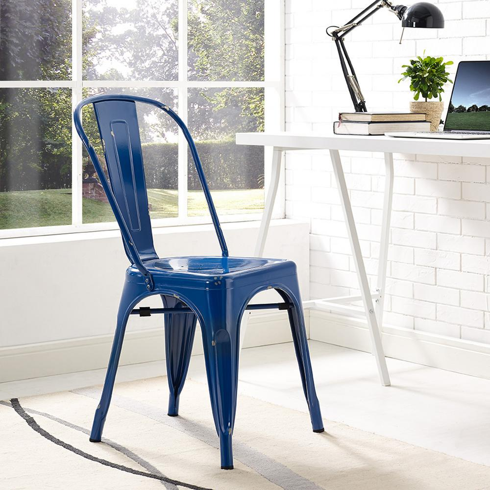 Navy Blue Metal Dining Chair