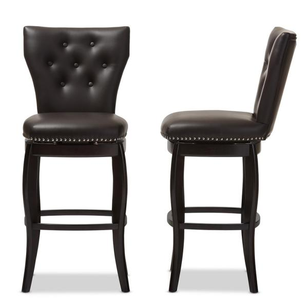 Baxton Studio Leonice Brown Faux Leather Upholstered 2-Piece Bar Stool Set