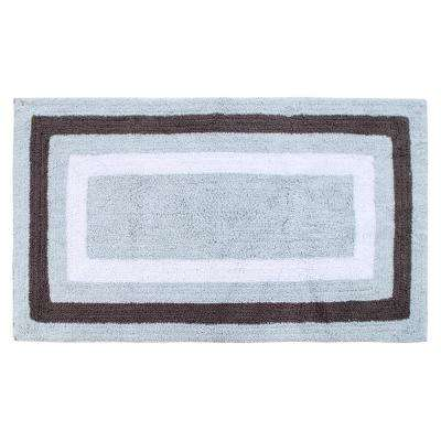 Race Track, 50x30 In, Cotton, Gray, Reversible, Machine Washable Bath Rug