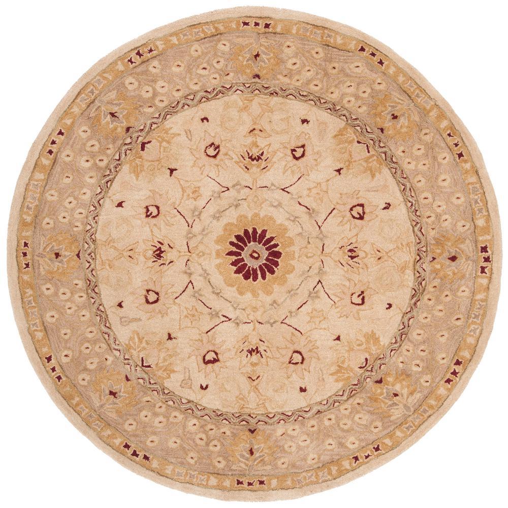 Anatolia Sand/Walnut 4 ft. x 4 ft. Round Area Rug