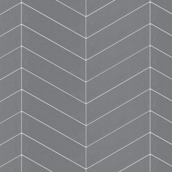 Metro Soho Chevron Glossy 7 in. x 1-3/4 in. Grey Porcelain Floor and Wall Tile (1 sq. ft. / pack)