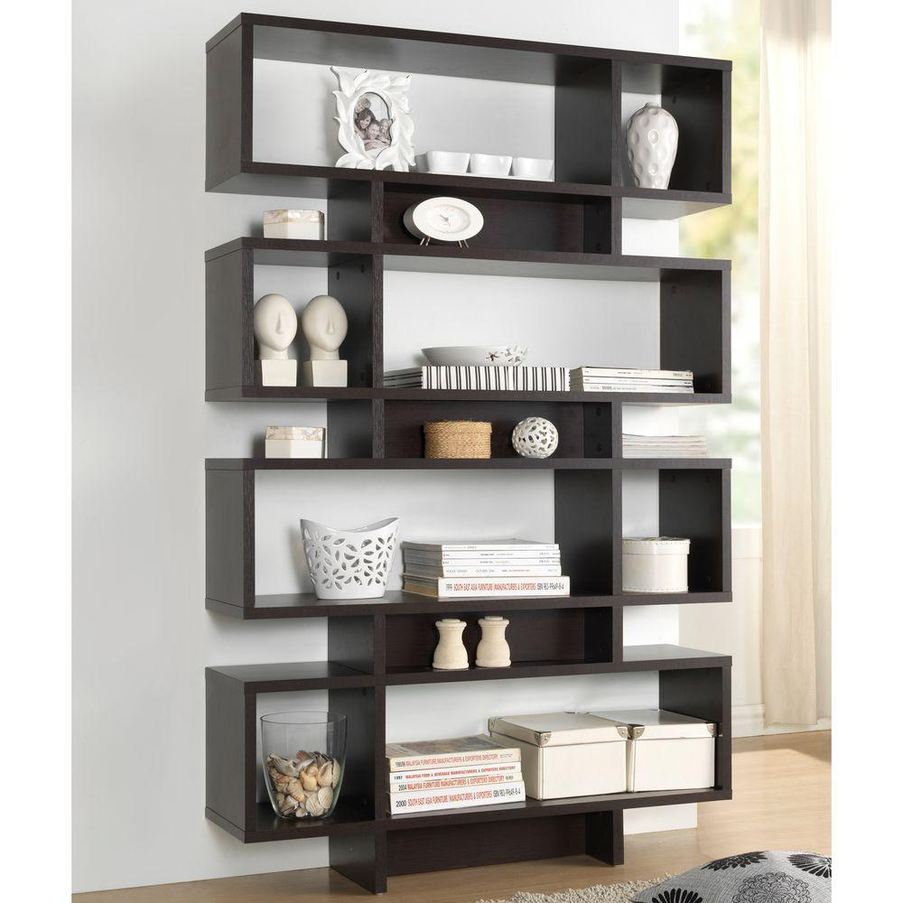 Cassidy Dark Brown Wood 4-Tier Open Shelf