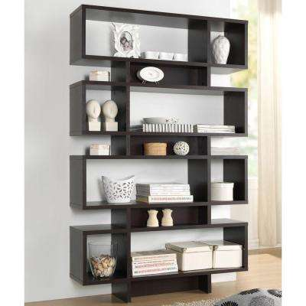 Cassidy Dark Brown Wood 4-Tier Open Shelf