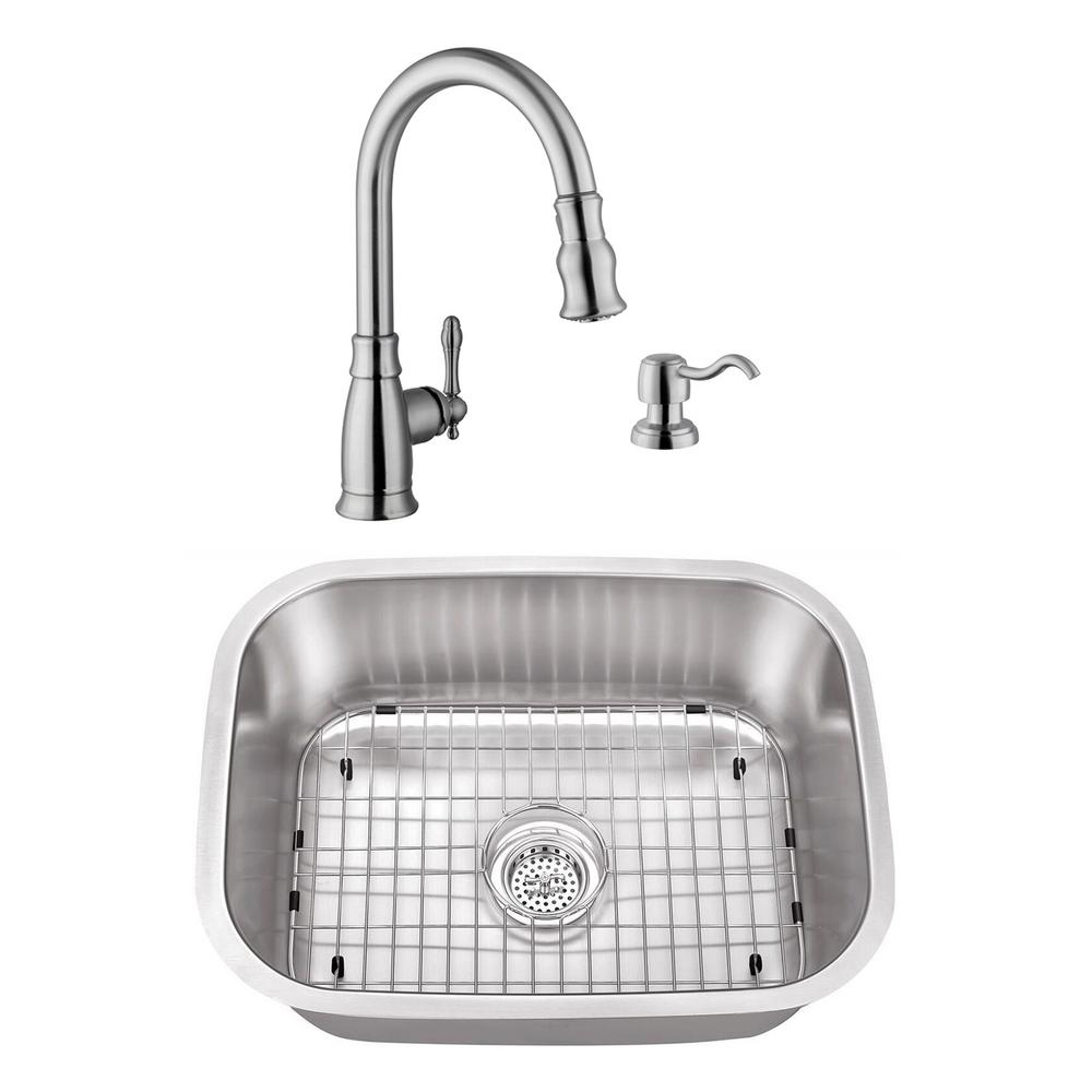 Undermount Stainless Steel 23-7/16 in. Small Single Bowl Utility Sink with