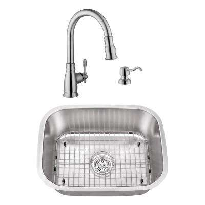 Undermount Stainless Steel 23-7/16 in. Small Single Bowl Utility Sink with Brushed Nickel Faucet