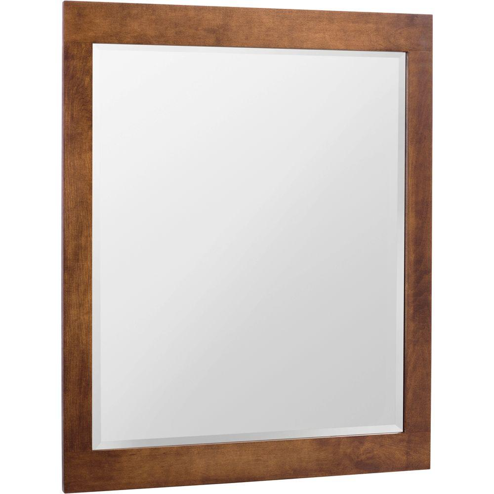 Glacier Bay Casual 27-1/2 in. x 35-1/2 in. Framed Vanity Mirror in Cognac