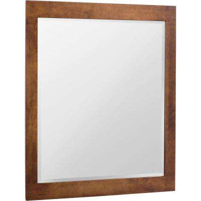 Casual 28 in. x 36 in. Framed Vanity Mirror in Cognac