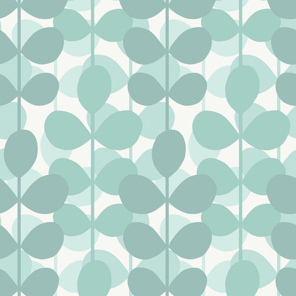 The Wallpaper Company 56 sq. ft. Aqua Leaf Wallpaper