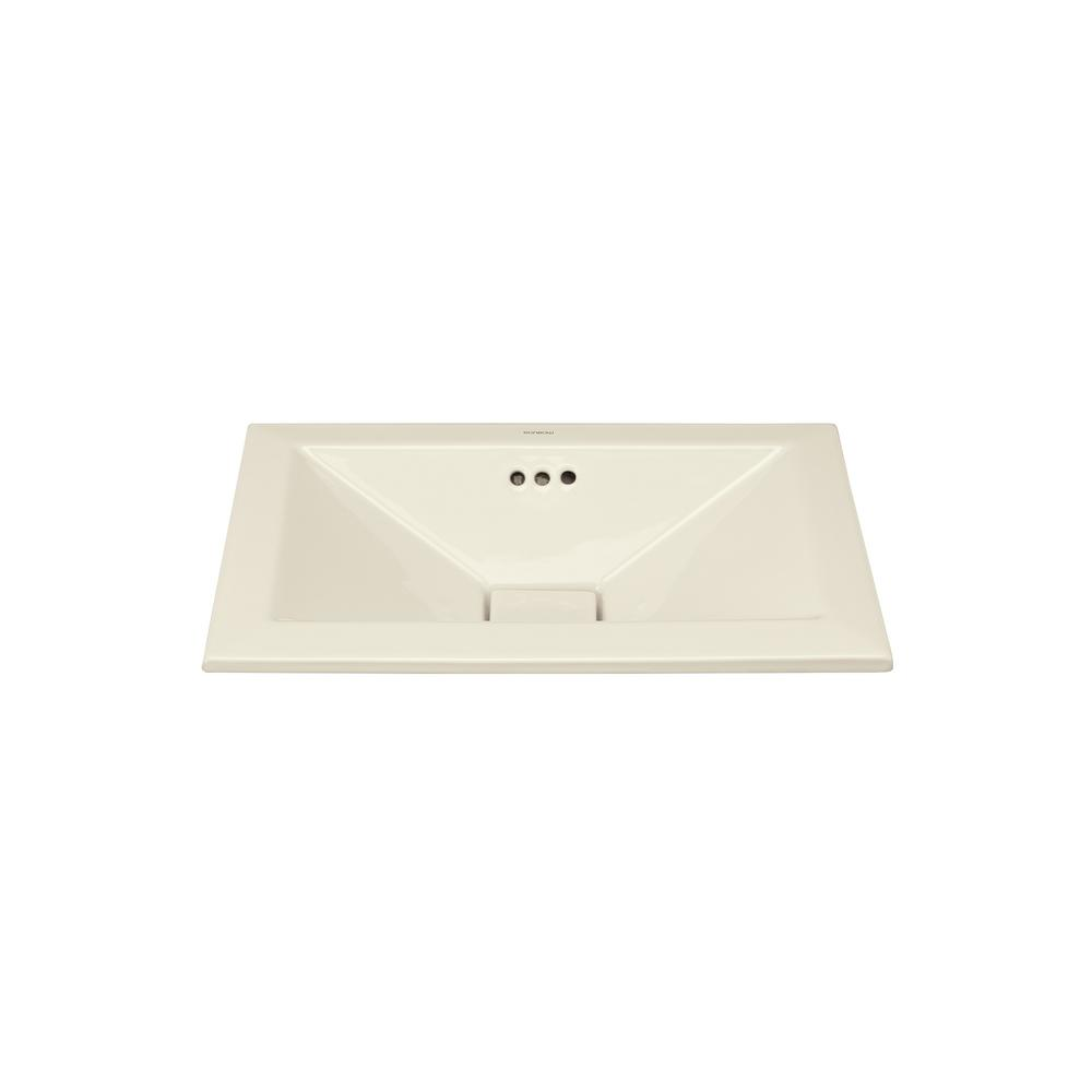 Pyramid 19.625 in. Self-rimming Bathroom Sink in Biscuit