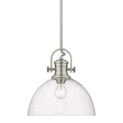 Hines 1-Light Pewter Pendant with Seeded Glass
