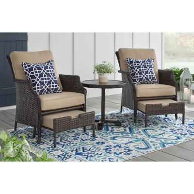 Hampton Bay Grayson Brown 5 Piece Wicker Patio Small Es Chat Set With Toffee Cushions
