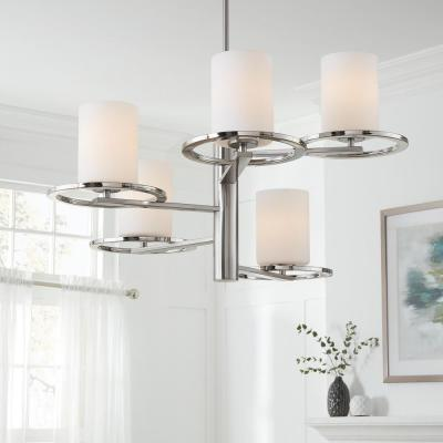 5-Light Polished Nickel and Brushed Nickel Chandelier with Etched Opal Cylinder Glass Shades