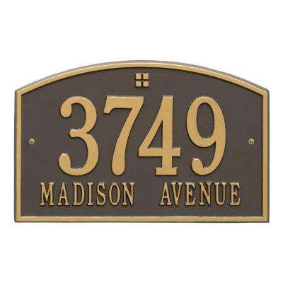 Cape Charles Standard Rectangular Bronze/Gold Wall 2-Line Address Plaque