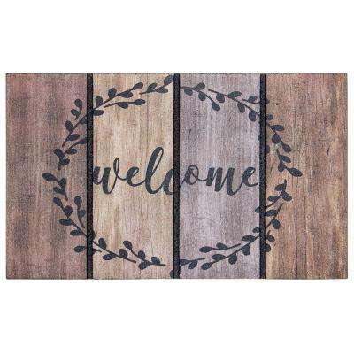 Welcome Wreath 18 in. x 30 in. Door Mat