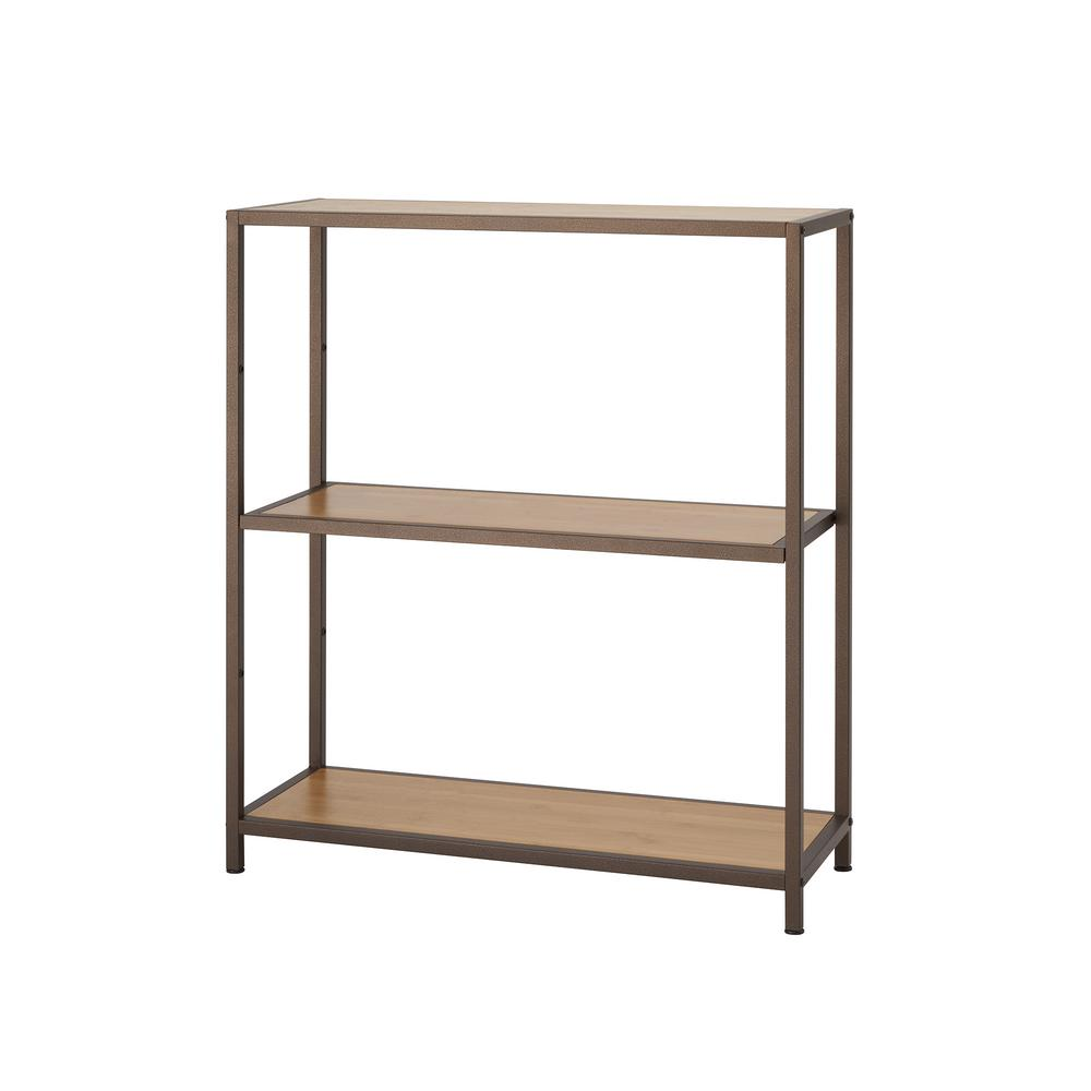 TRINITY 32 in. W x 12 in. D 3-Tier Bronze Anthracite Bamboo Decorative Shelf