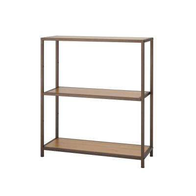 32 in. W x 12 in. D 3-Tier Bronze Anthracite Bamboo Decorative Shelf