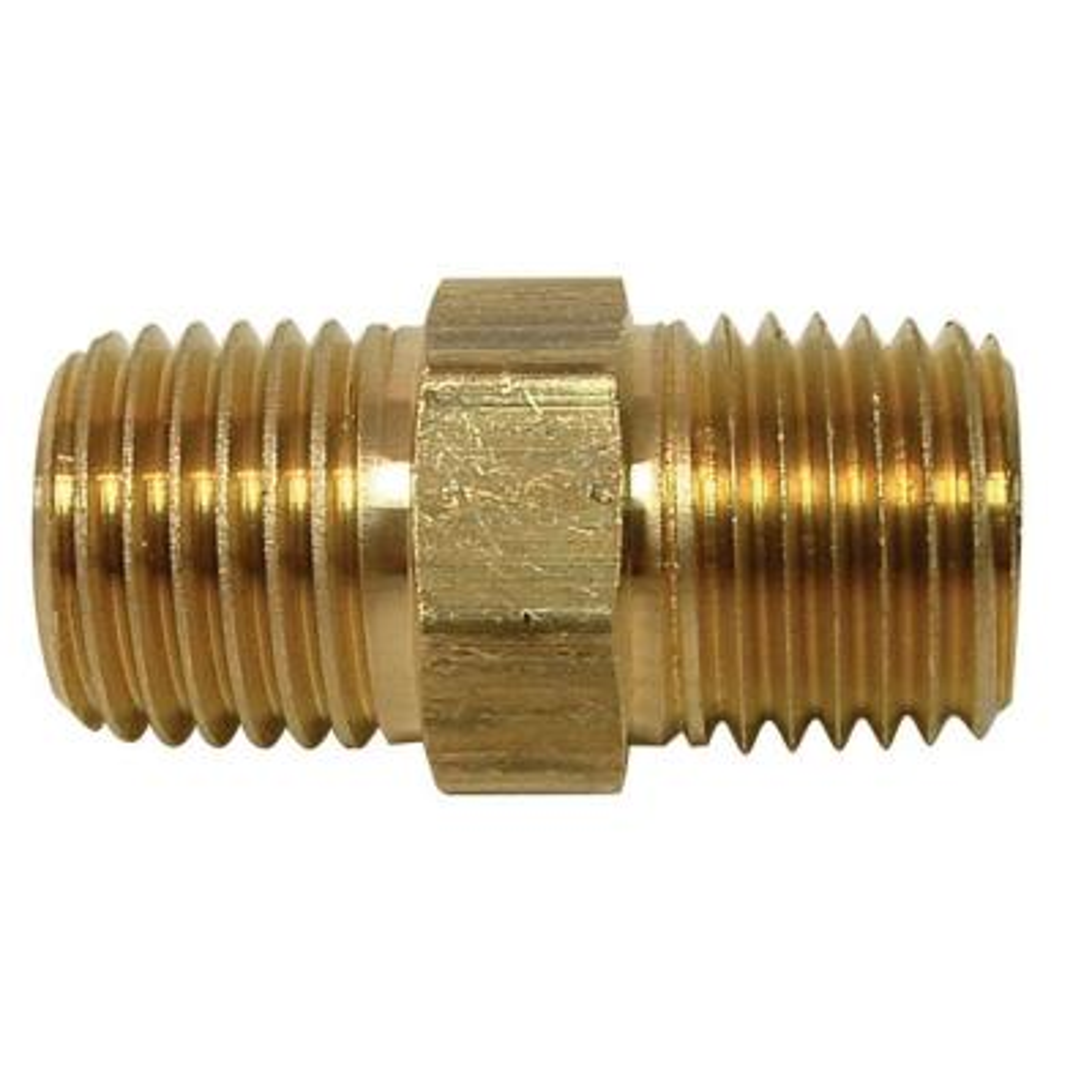1/8 in. x Close MIP Brass Hex Nipple Fitting