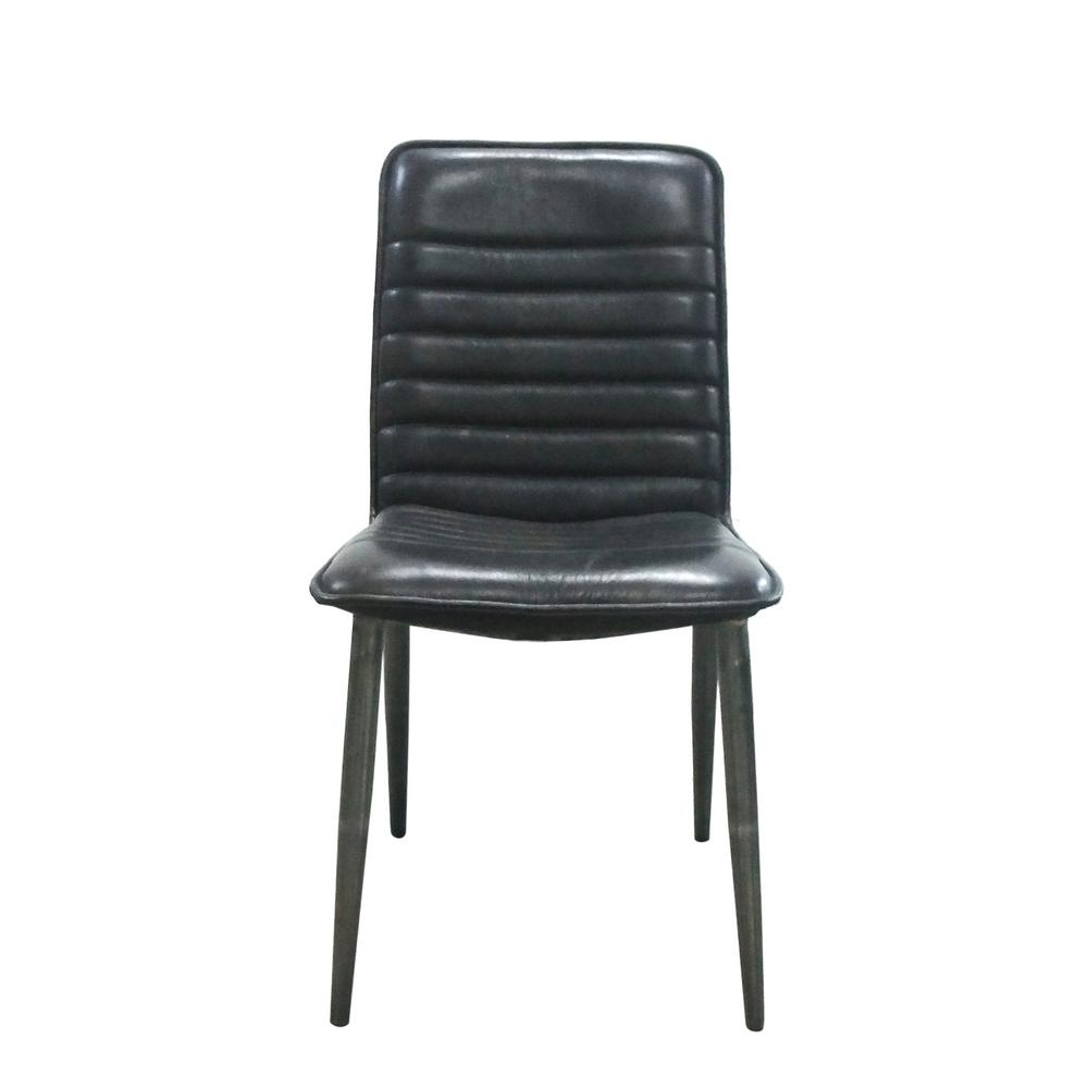 Hosmer Black Top Grain Leather and Antique Black Side Chair