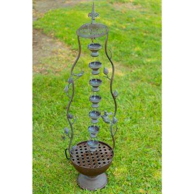 41 in. 7 Hanging Cup Tier Layered Floor Fountain
