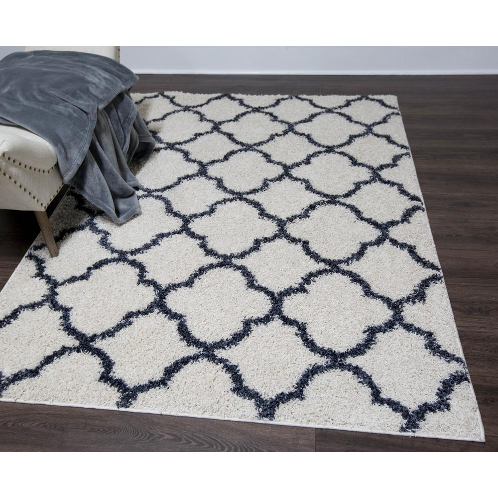 Nicole Miller Synergy White Blue 5 Ft X 7 Ft Indoor Area Rug 2
