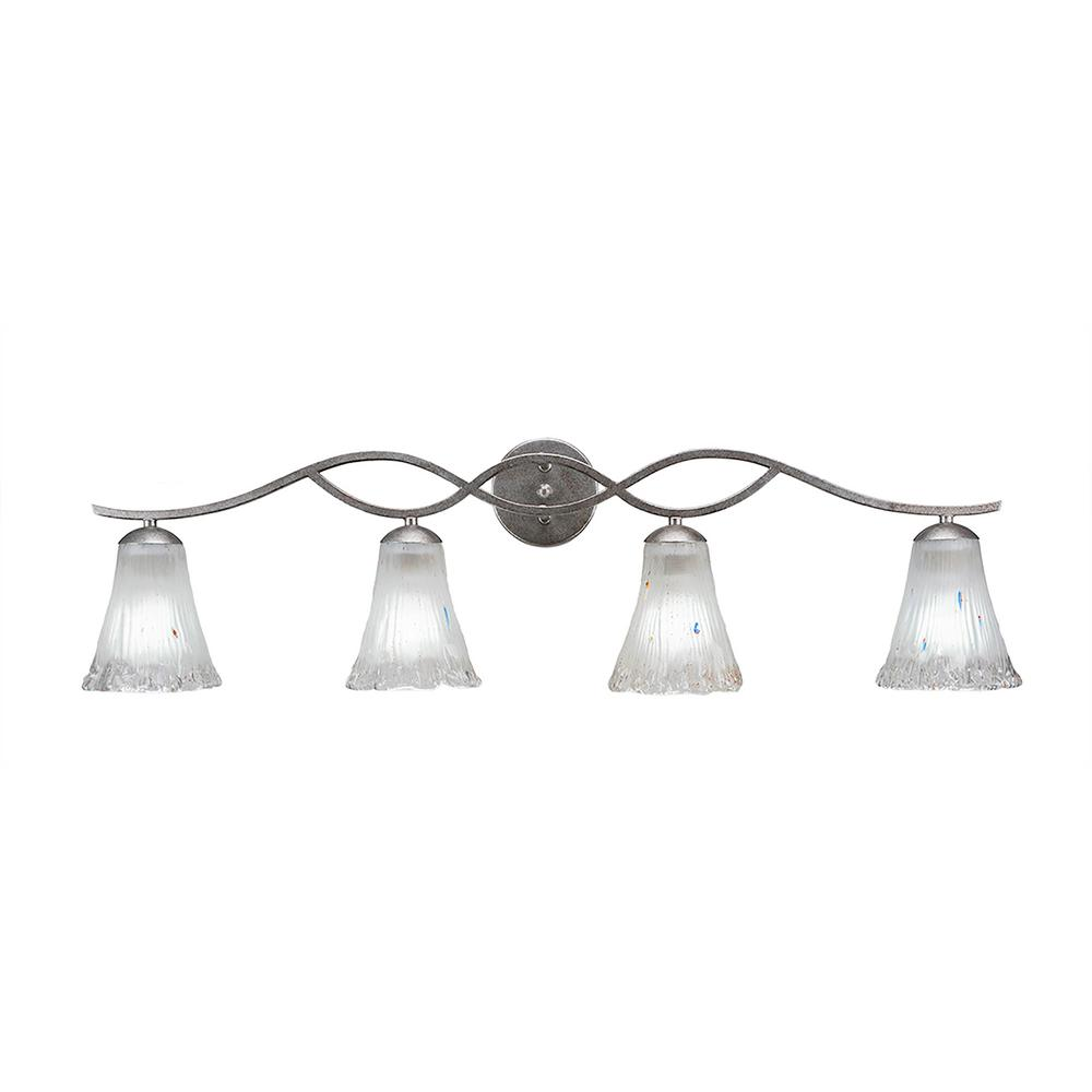 Filament Design 4-Light 4.75 in. Dark Granite Vanity Light with 5.5 in. Fluted Frosted Crystal Glass