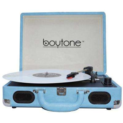 Exclusive Mobile Bluetooth Briefcase Turntable, Light Blue