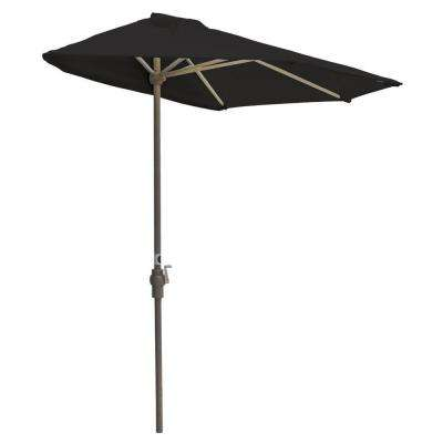 Off-The-Wall Brella 9 ft. Patio Half Umbrella in Black Sunbrella