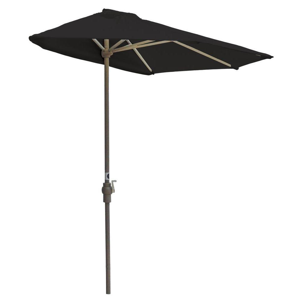 Off-The-Wall Brella 9 ft. Patio Half Umbrella in Black Sunbrella