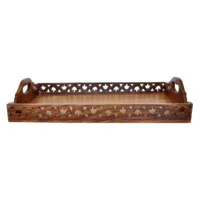 Handmade Brown Wooden Serving Tray with Handles