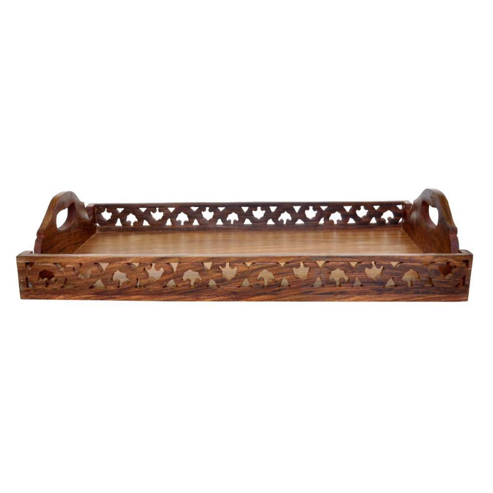Benzara Handmade Brown Wooden Serving Tray with Handles BM123954