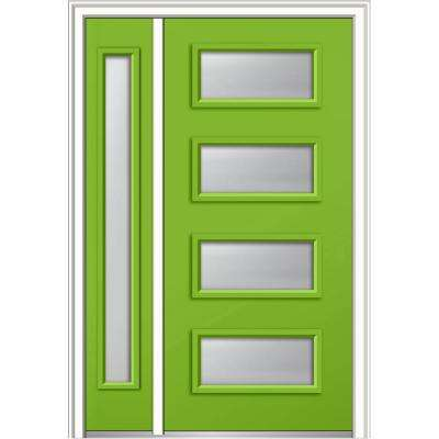 50 in. x 80 in. Celeste Frosted Left-Hand 4-Lite Eclectic Painted Fiberglass Smooth Prehung Front Door with Sidelite