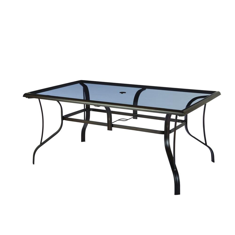 Hampton bay statesville rectangular glass patio dining for Outdoor dining table glass top