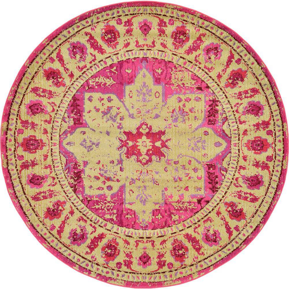 Unique Loom Palazzo Pink 8 Ft. X 8 Ft. Round Area Rug