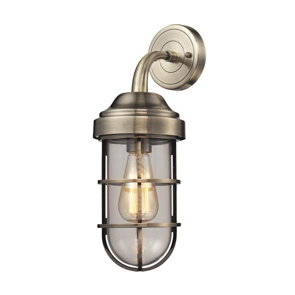 Seaport 1-Light Antique Brass Sconce