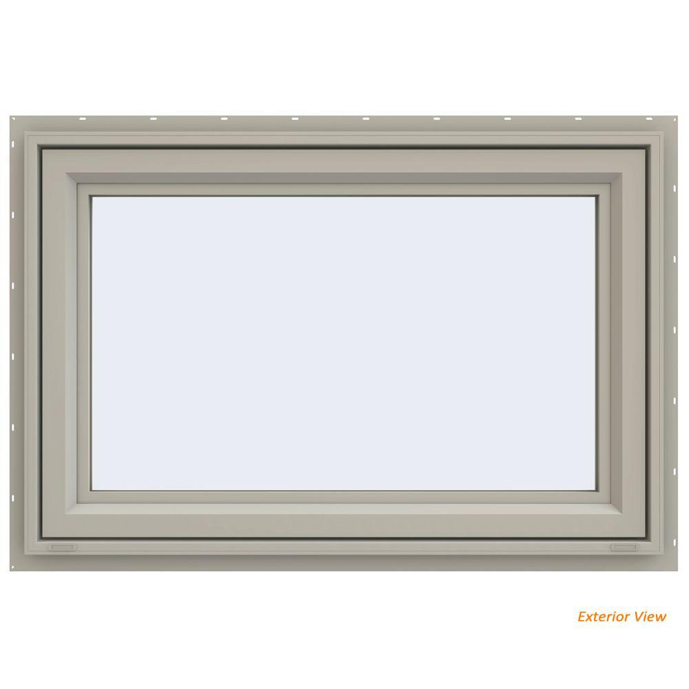 47.5 in. x 29.5 in. V-4500 Series Desert Sand Vinyl Awning Window with Fiberglass Mesh Screen
