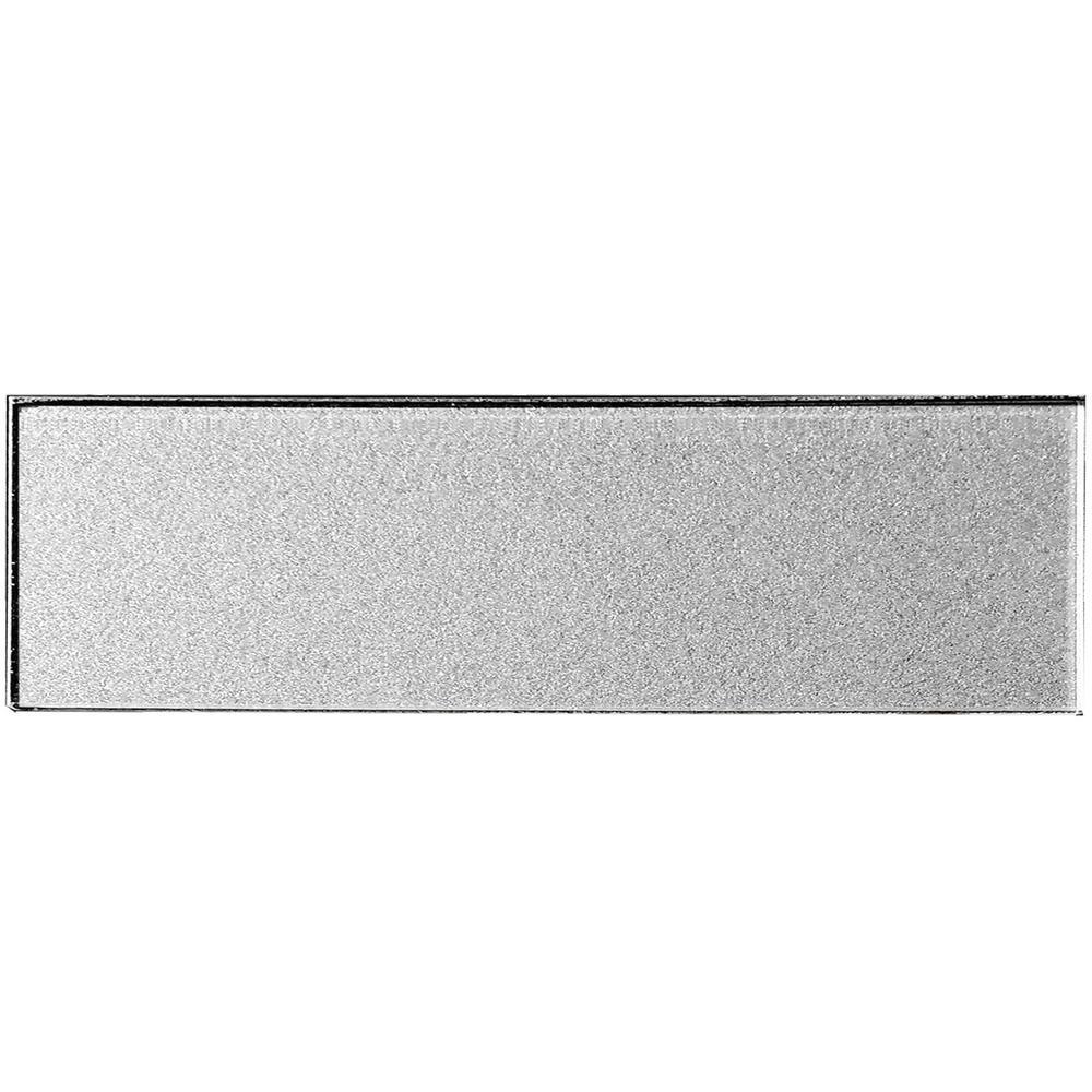 "Subway 4"" x 16"" Handmade Metallic Silver Glossy Glass Peel & Stick Decorative Bathroom Wall Tile Backsplash (9-Pack)"