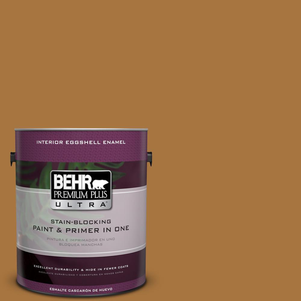 1 gal. #MQ4-06 Invitation Gold Eggshell Enamel Interior Paint and Primer